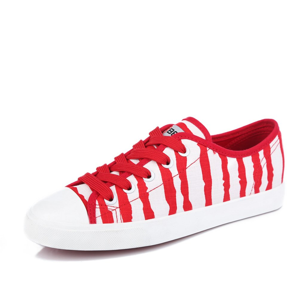 Summer Stripe Canvas//Laced Women Shoes//Students in Korean Version of Paint Color Flat-Bottom Shoes