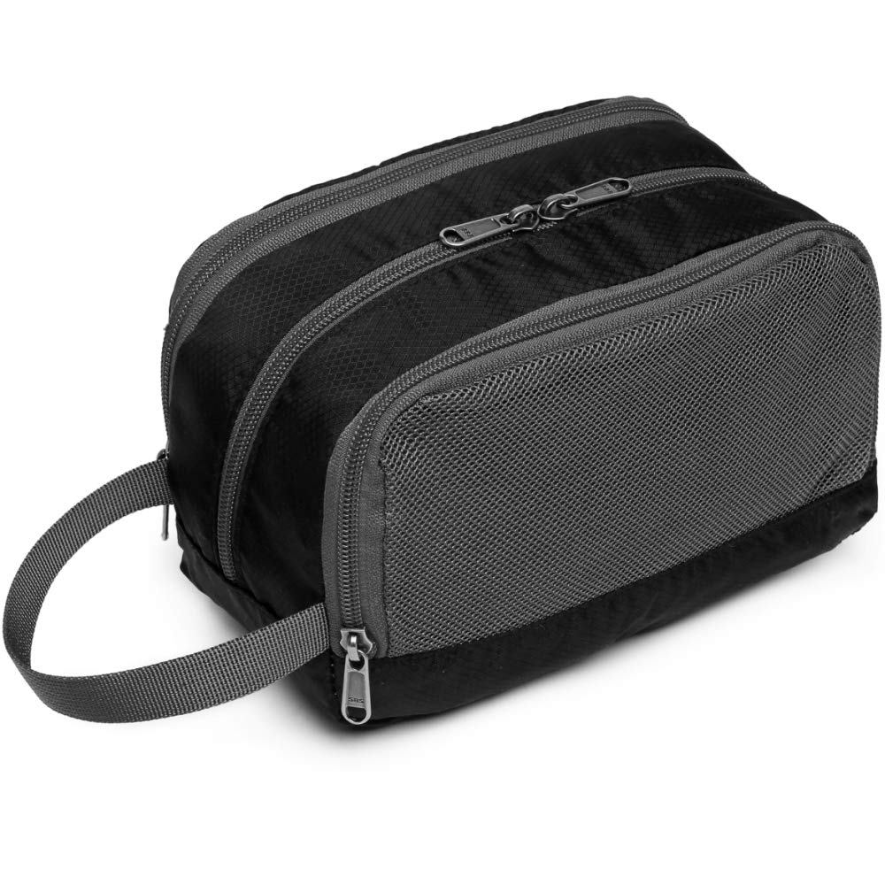 Toiletry Bag, Veckle Dopp Kit Shaving Bag for Men Nylon Travel Toiletry Organizer Shower Wash Bag for Women with Hanging Strap Black