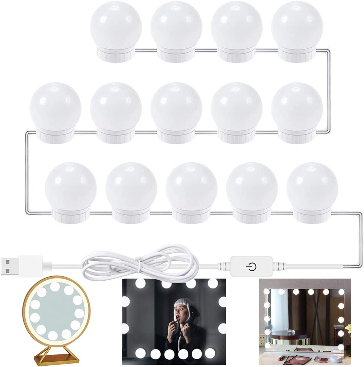 Alitade 14PCS DIY LED Vanity Mirror Lights Kit Dimmable LED Light Bulbs with Touch Control for Makeup Mirror Dressing Table Mirror Not Include