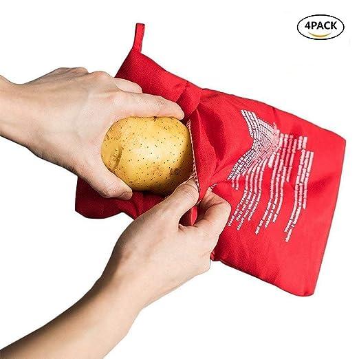 JanTeel Bolsa de Patata para microondas de 4 Piezas, Reutilizable ...