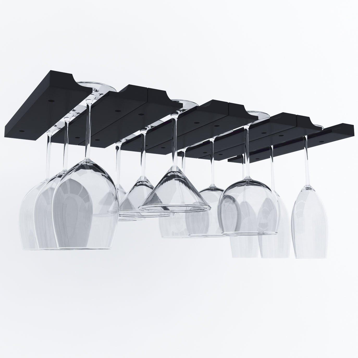 Hanging Under Cabinet Stemware Wine Glass Holder Rack , Adjustable Stemware Glass Storage Wood , Pack of 2 (Black) by ArtifactDesign