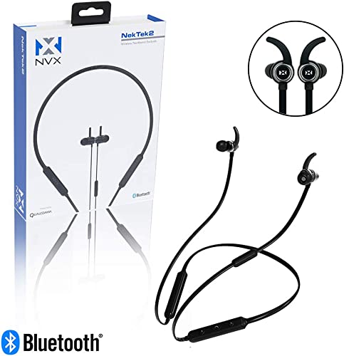 NVX NekTek2 Behind-The-Neck Bluetooth Wireless Headphones – 10 Hour Playback Time – ComfortMax Memory Foam Tips – Fast 40 Minute Charge Time – Built-in Microphone