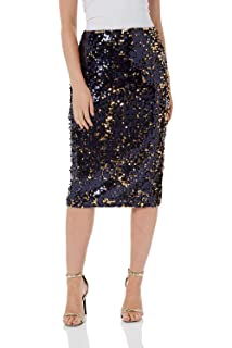 2f929260c70d Roman Originals Women s Sparkly Sequin Midi Skirt - Ladies Fashion Skirts  for Party Evening Dinner Formal