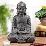 12 inch Meditating Seated Buddha Statue Figurine with Rustic Gray Finish