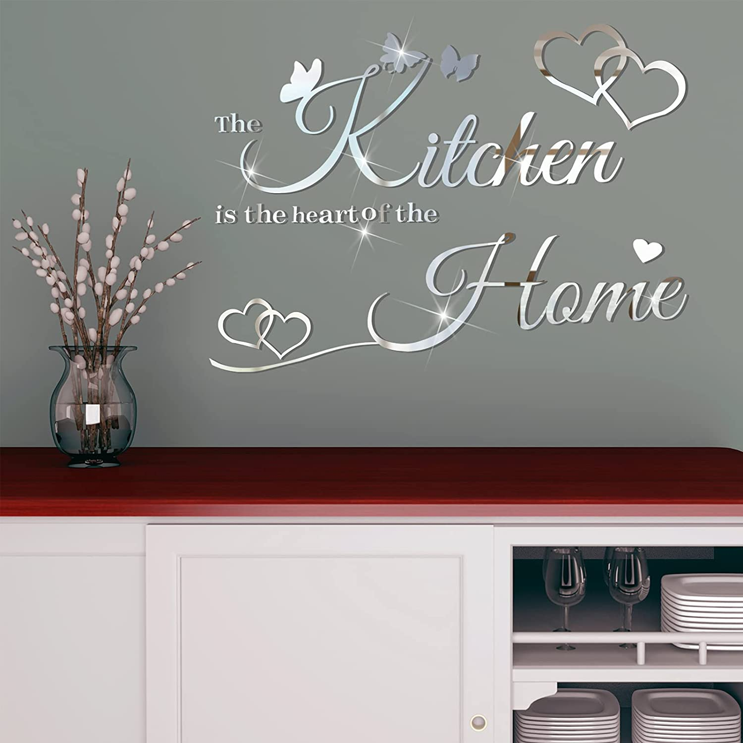 3D Acrylic Mirror Wall Decals Kitchen Butterfly Mirror Stickers Home Letters Decor Heart Quotes Wall Stickers Removable Wall Decals Motivational Wall Decoration for Kitchen Home Dorm (Silver)