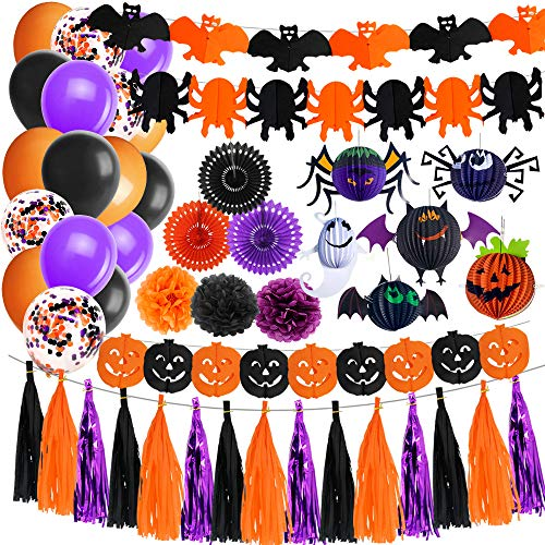 Halloween Tissue Paper Garland (Jblcc Halloween Party Decoration Kit - Halloween Paper Garlands Halloween Pumpkin Bat Ghost Spider Paper Lanterns Halloween Balloons Orange Black Purple Tissue Pom Halloween Party)