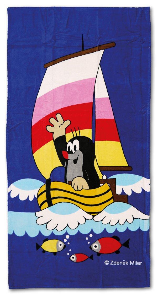 Trullala Badehandtuch, Strandtuch, der kleine Maulwurf, aus der ''Sendung mit der Maus'', Motiv: Segelboot, dunkelblau