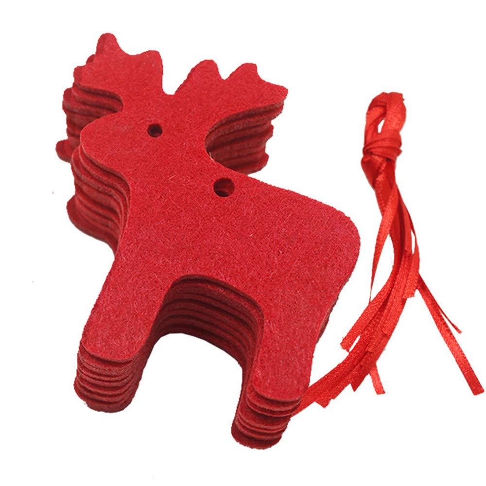 Gotian 10Pcs Red Christmas Pendant Decoration Children's Home Decoration Gift (B)