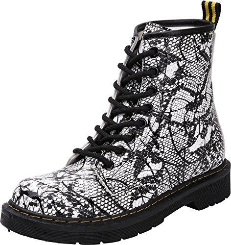 06b066b1080f24 Damen Mädchen Stiefel Schnürstiefel Winterstiefel gefüttert Stiefeletten  Wasserdicht PU Leder Boots Schuhe Muster Print Schwarz(