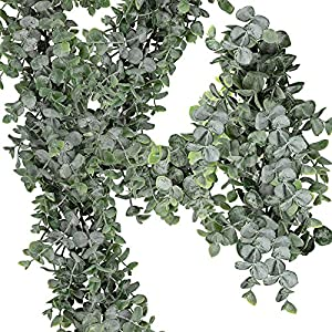 "Supla 8.7' Long 5.9"" Wide Faux Eucalyptus Leaves Garland Fake Artificial Hanging Eucalyptus Greenery Garland in Grey Green for Wedding Holiday Decorations UV Protected Indoor Outdoor 28"