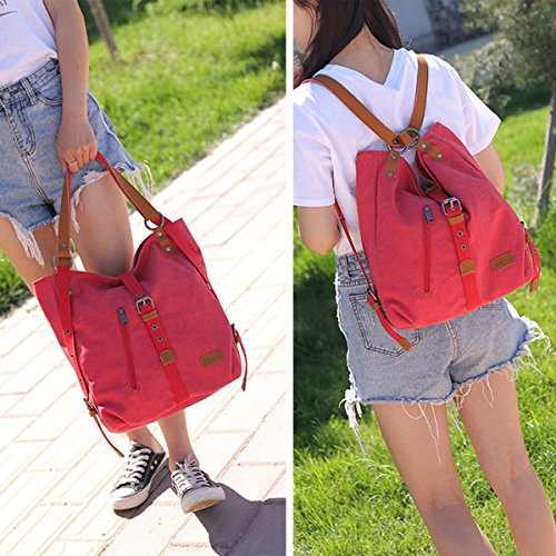 Evaliana Leather PU Red School Rucksack Travel Bag Shoulder Women Canvas Backpack qxZIqr