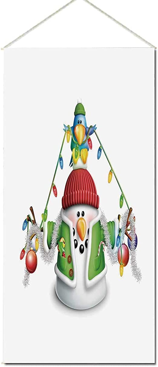 yoliyana snowman aesthetic hanging poster cartoon whimsical character with christmas garland blue bird various xmas elements decorative for office 17 7 wx35 4 h amazon ca home kitchen amazon ca
