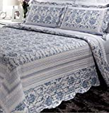 Bigger Bed Than a King Size Patch Magic Blue Wisteria Lattice 5-Piece Quilt Set Super King Bed in Bag