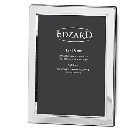 EDZARD portafotos Salerno, marco de fotos, chapado en plata, 13 x 18 cm