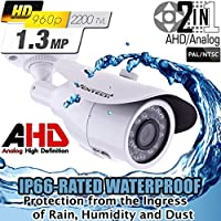 Ventech 1.3mp CCTV Surveillance Bullet Security Camera AHD Super CMOS image sensor 1/3 4mm Lens Weatherproof Outdoor OSD Cable 2 in 1 CAMAHD