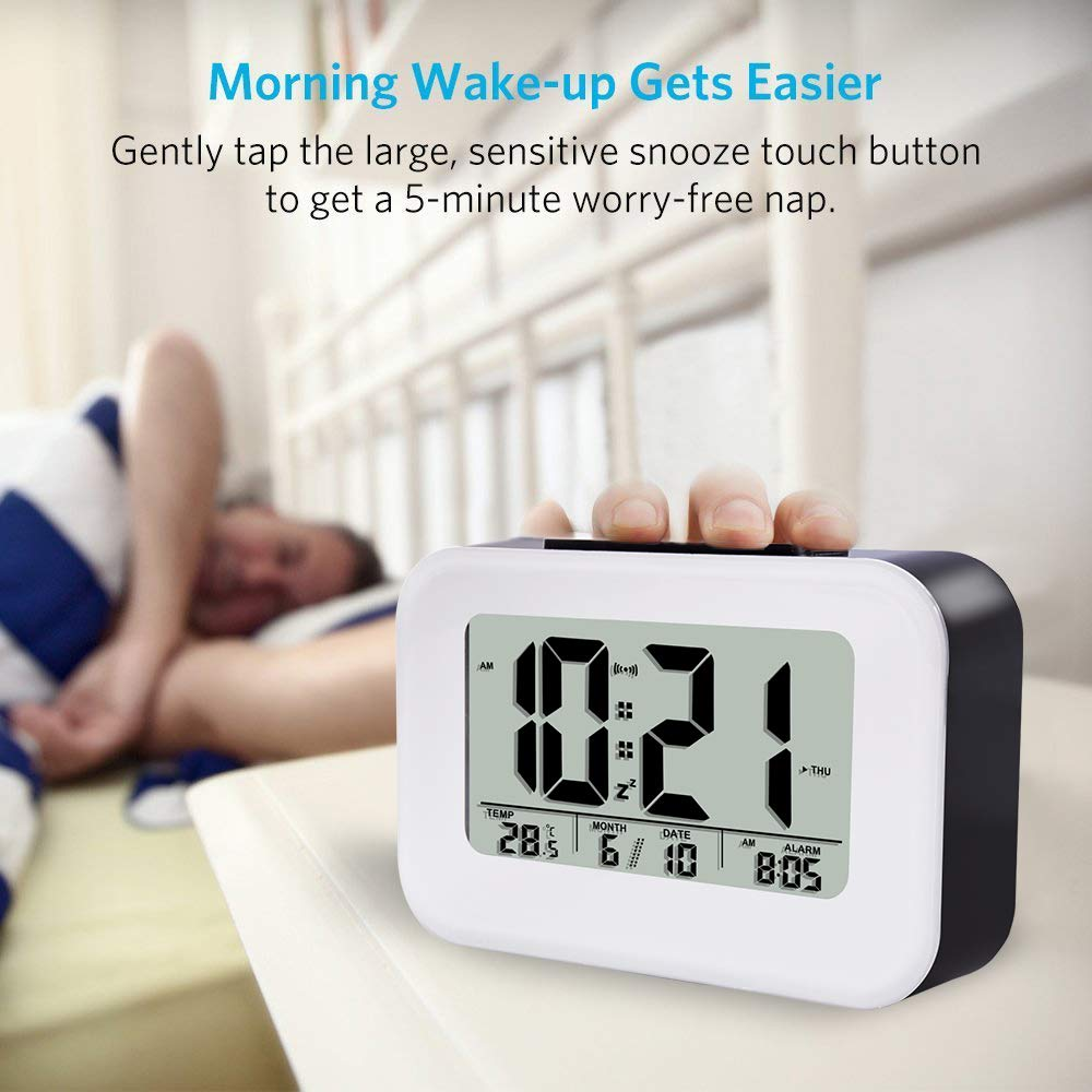 FIOLOM Alarm Clocks Bedside Non Ticking Battery Operated Silent Digital Clock Large Display Temperature Backlight Snooze Light Function Desk Clock for Bedroom Accessories Presents Heavy Sleepers