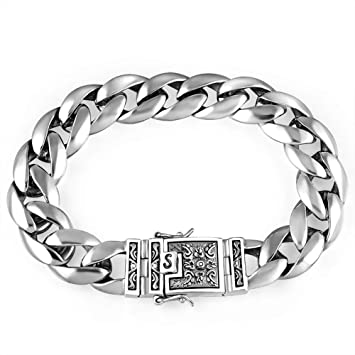 magasin en ligne 65f28 86d22 ZMSP Bracelet pour Homme en Argent thaïlandais avec Argent ...