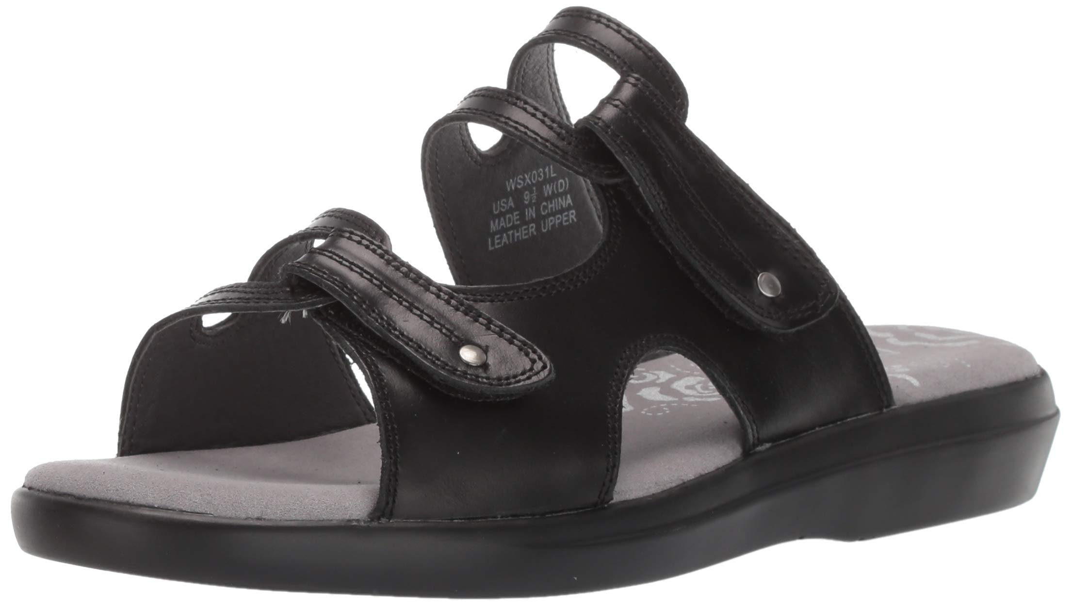 Propet Women's Marina Slide Sandal, Black, 7.5 D US by Propét