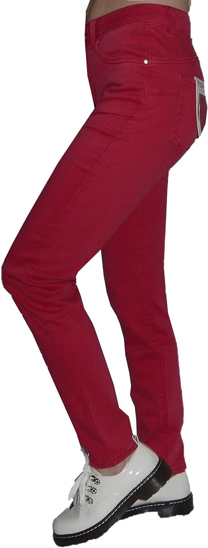 Pantalone Lungo Jeans Vita Alta Cotone Jeansato Elasticizzato Colorati Donna