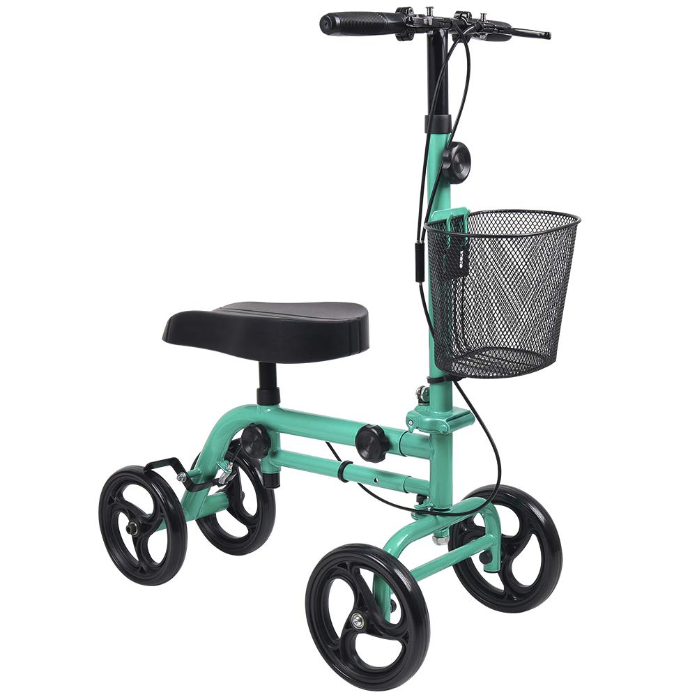 Knee Scooter, Give Me Steerable Knee Walker Crutch Alternative with Basket and Dual Hand Brake (Green) by Give Me