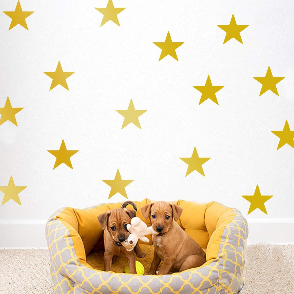 Mendom Stars Wall Decals,130pcs Gold Star Decals Removable Peel and Stick Wall Decals for Bedroom Living Room