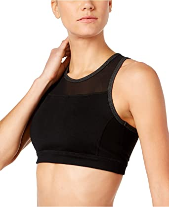 1f52af2ecfd28 Calvin Klein Performance Mesh-Back Medium-Support Sports Bra (Black ...