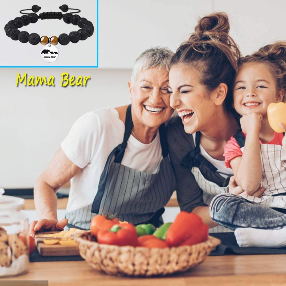 Mama Bear Bracelet with 2 Baby Cubs Sweet Family Adjustable Bangle Gift for Mother Wife Grandma
