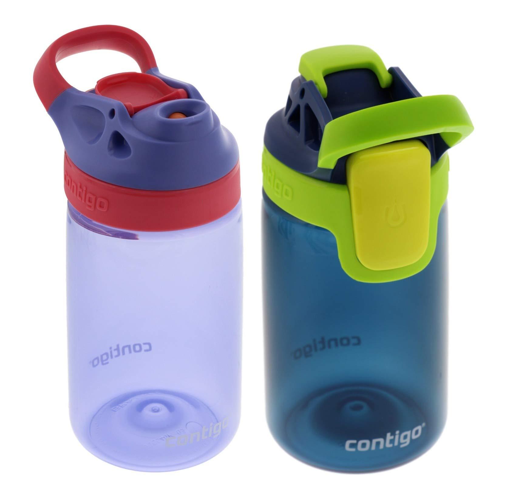 Contigo 14oz Kids Autoseal Gizmo Sip Water Bottles, Lavender & Navy (2 Pack) - Perfect Children & Parents on the Go