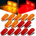 Partsam 14x Trailer Marker LED Light Double Bullseye 10 Diodes Clearance Light Red/Amber