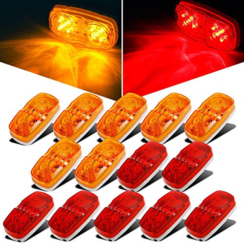 Partsam 14x Trailer Marker LED Light Double Bullseye 10 Diodes Clearance Light Red/Amber, 4x2 Tiger Eye/Double Bubble 12V Rectangular LED Side Marker Light Indicators Surface Mount RV Camper Trucks - Led 10 Diode