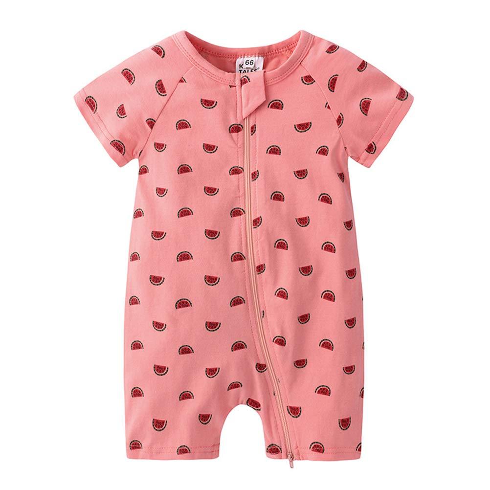 Feidoog Baby Boys and Girls Summer Short Sleeve Pajama Cute Cartoon Zipper