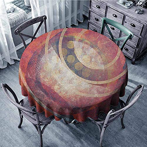 - ScottDecor Camping Round Tablecloth Fabric Tablecloth Antique,Grunge Circles Ancient Aged Display Dynamic Artistic Old Fashioned Retro Elements, Red Yellow Diameter 54