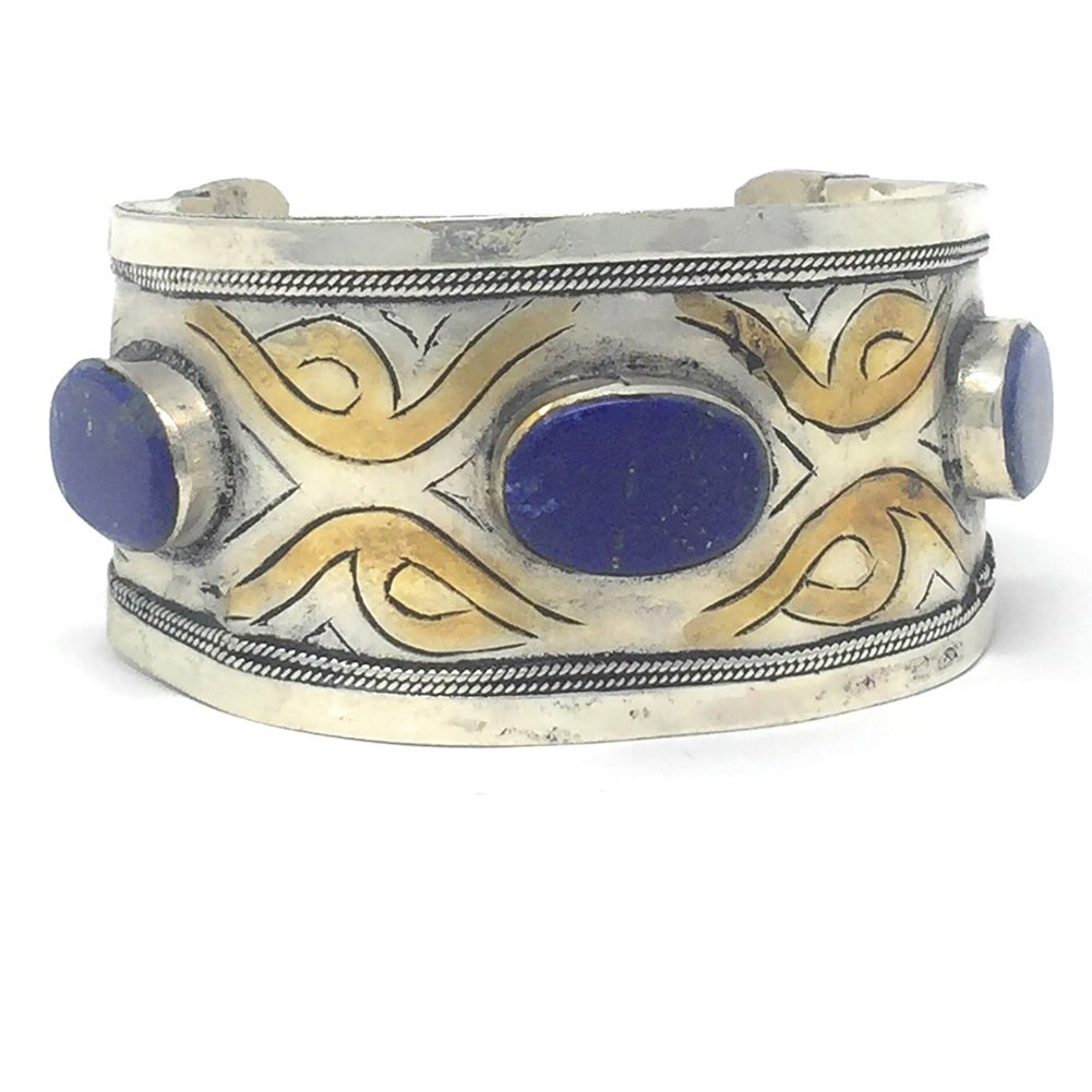 Duel on Jewel Tribal Afghan Tribal Warrior Shiny Cuff Studded with Gypsy Stones Bohemian Style Blue