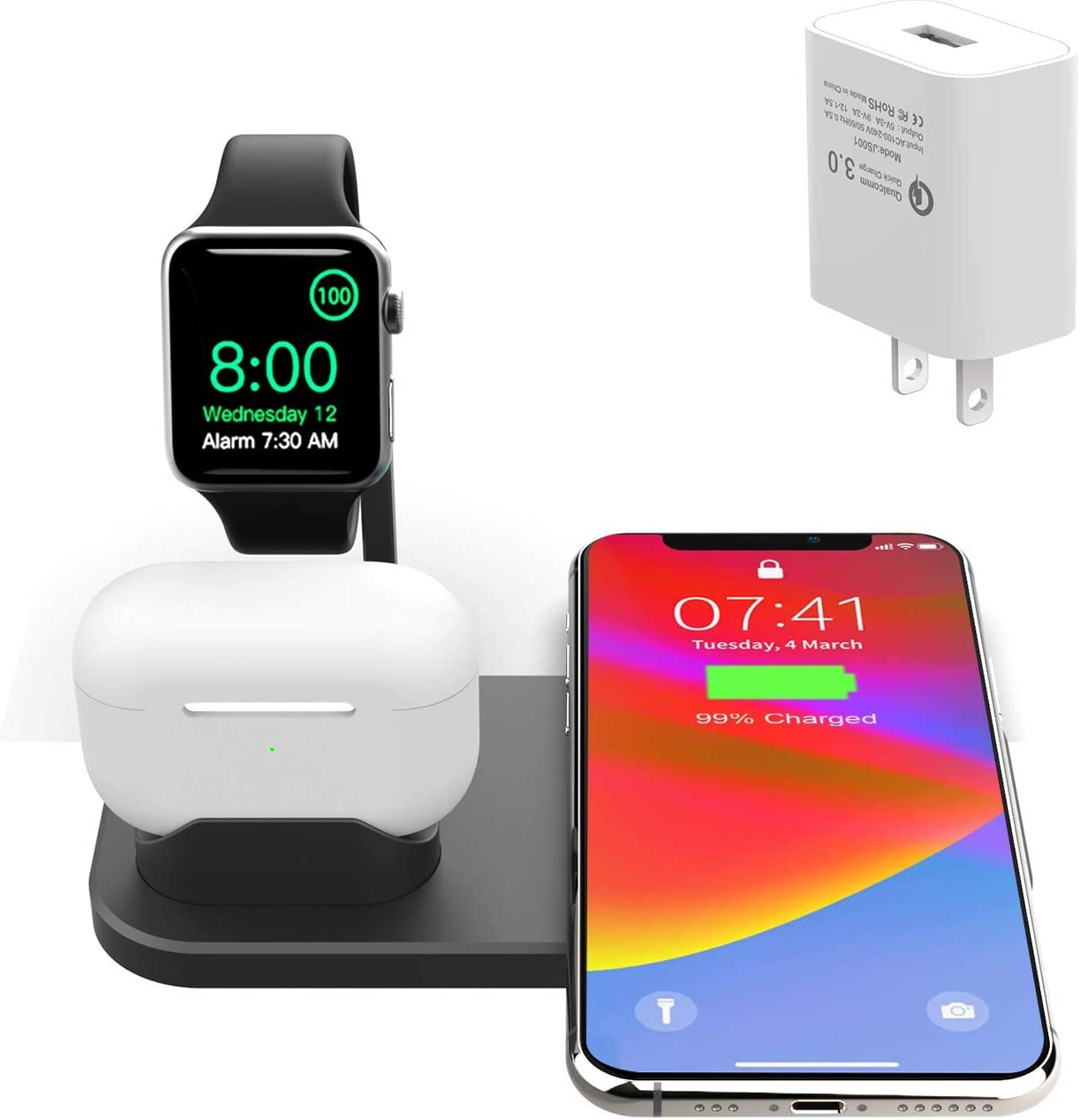 BNCHI Wireless Charger, 3 in 1 Wireless Charging Stand for Latest Airpods iPhone and iWatch, Wireless Compatible for iPhone 11/11 Pro Max/X/XS Max/8 iWatch Stand 5 4 3 2 1 Airpods 3 2 1