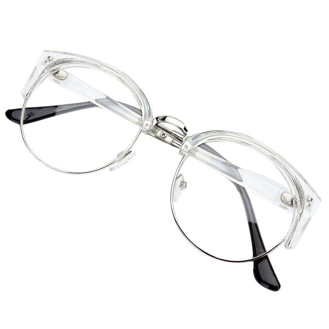 00eedb43fe27 TOOGOO(R) Retro Style Women Men Round Nerd Glasses Clear Lens Eyewear Metal  Frame Glasses Colors:Transparent White+Silver Frame: Amazon.co.uk: Sports &  ...