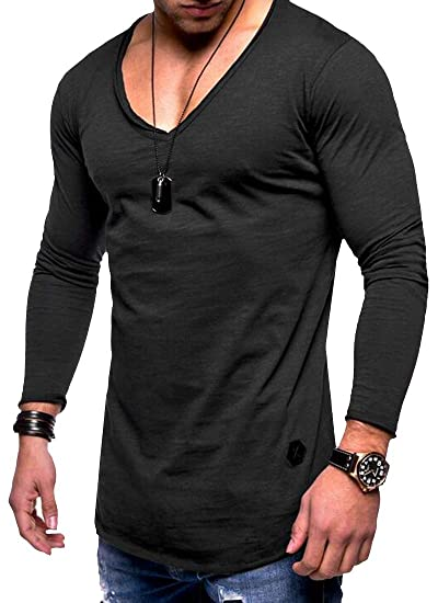 2f1a3c1ae8f Suncolor8 Mens Casual Regular Fit V-Neck Pure Color Long Sleeve T-Shirt Tee  Top