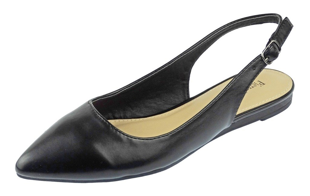 Pierre Dumas Women's Slingback Abby-14 Vegan Leather Pointed Toe Slingback Fashion Dress Flats Shoes B01N6B8XFI 10 B(M) US|Black