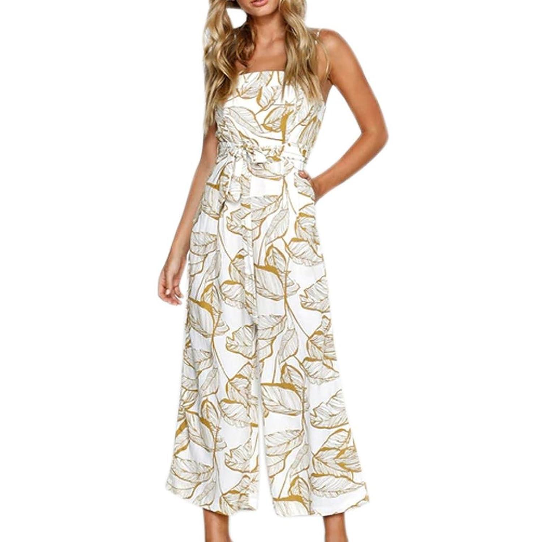 3b40c72247 Longra Damen Elegant Jumpsuit Sommerhosen Festliche Overalls Hohe Taille  Wide Leg Lange Hose mit Blätterdruck Damen