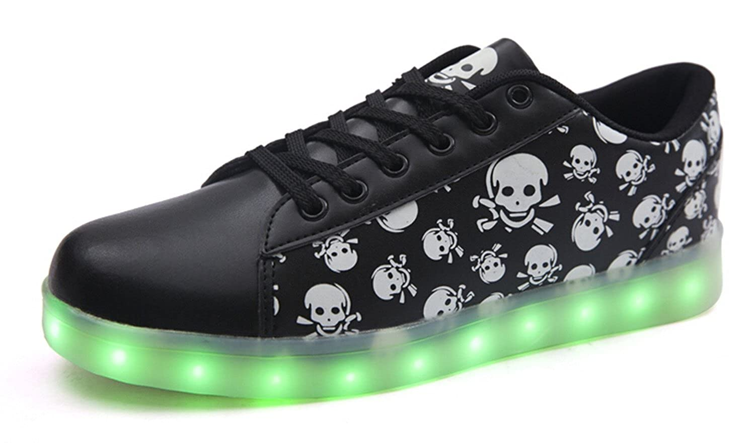 7 Colors LED Luminous Unisex Men & Women Sneakers USB Charging Light Colorful Glowing Leisure Flat Shoes Skull11 D(M) US