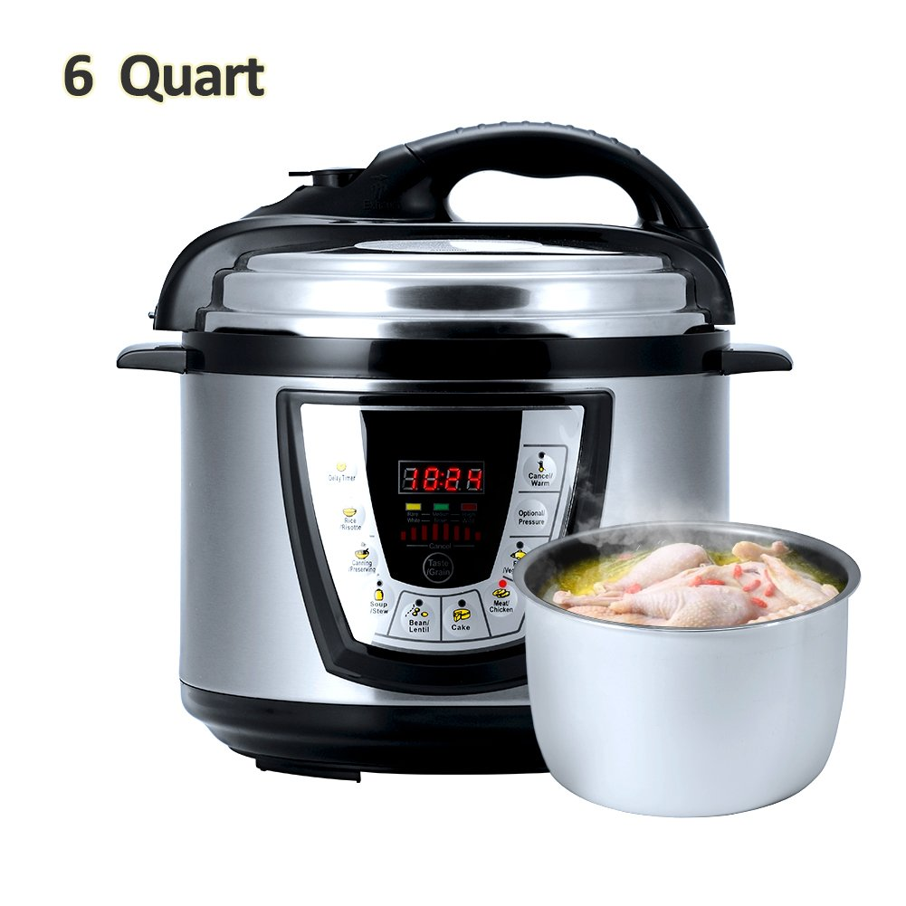 Aucma prc1 Electric Pressure Cooker Kitchen & Dining, 13.4 x 12.1 x 12.5 inches, Silver Black