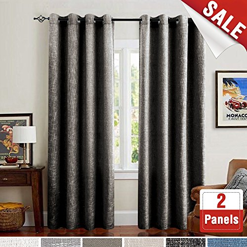 Burlap Window Curtains for Bedroom Linen Textured Flax Room Darkening Curtain Sets for Living Room 95 inches Long Grommet Top (One Pair, (Modern Window Curtains)