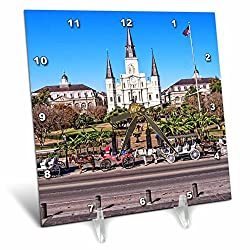 Boehm Photography Travel - Saint Louis Cathedral in New Orleans French Quarter - 6x6 Desk Clock (dc_239373_1)