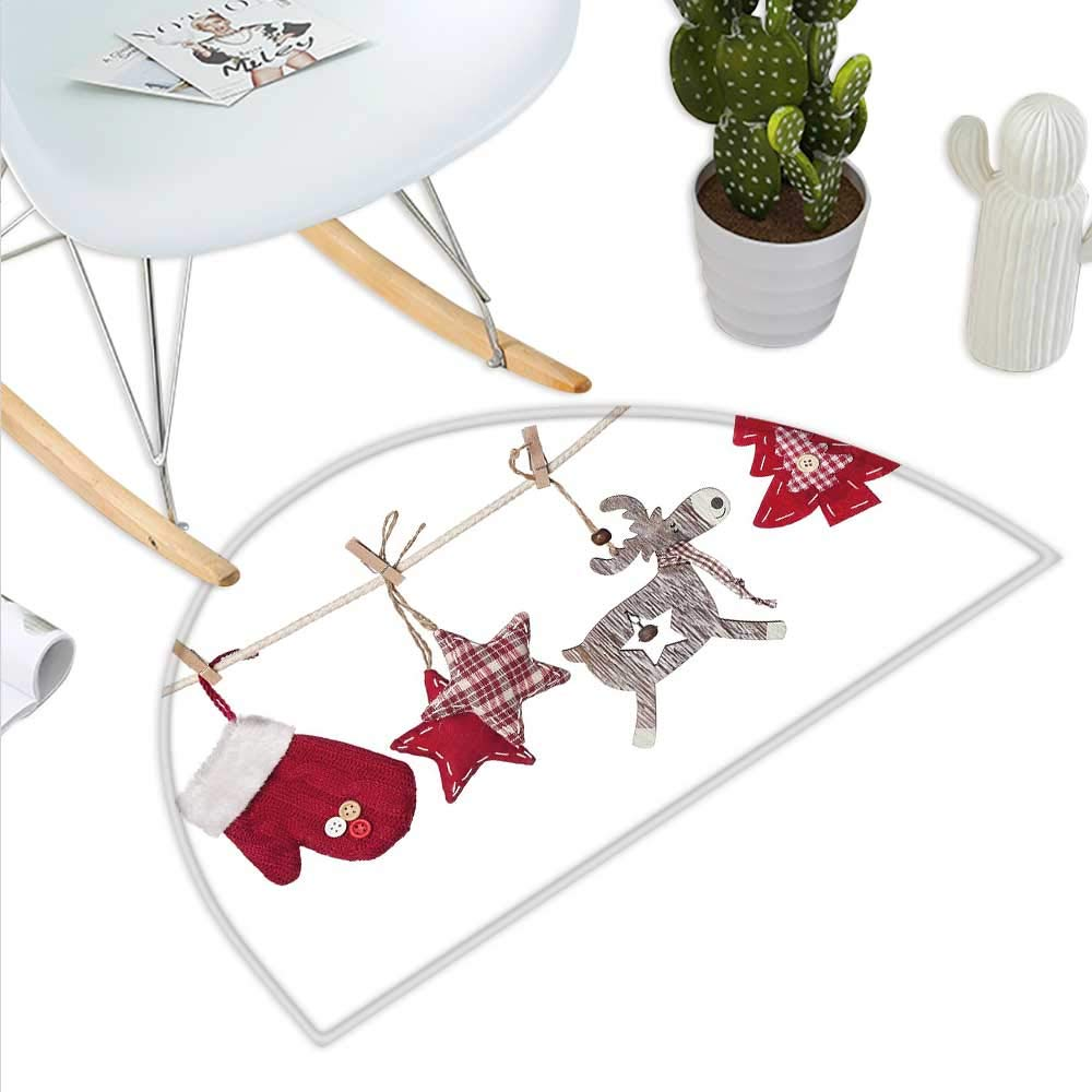 color10 H 31.5  xD 47.2  Christmas Semicircle Doormat Sweet Characters of Noel Father Xmas with a Bag of Presents Snowman Bird Deer Halfmoon doormats H 27.5  xD 41.3  Multicolor