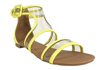c029b1b8f5f Qupid ALANIS-81 Women s Translucent Buckle Ankle Cuff Flat Gladiator Sandals