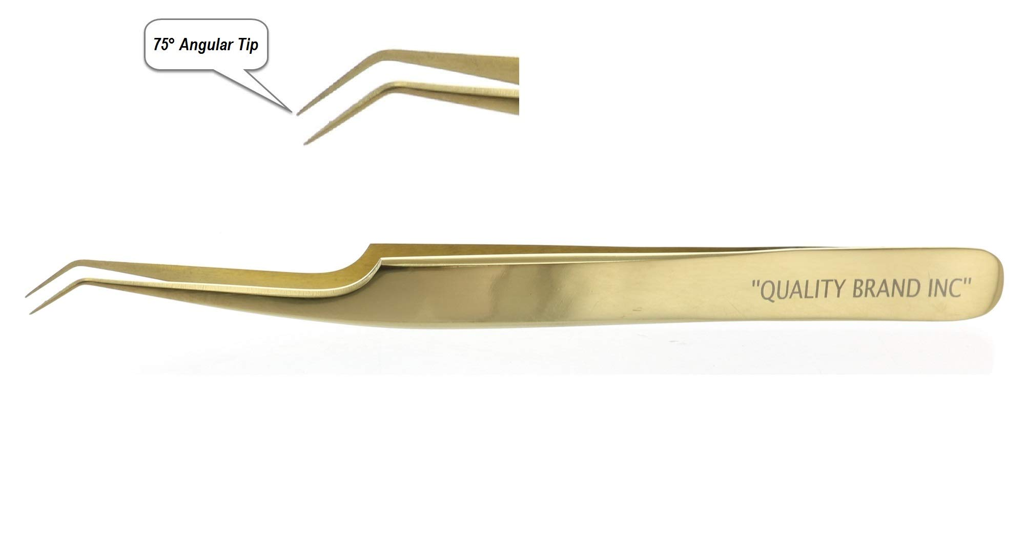 Precision Eyelash Extension Tweezers, Gold Russian 75° Angular Tip, Stainless Steel for Professional Use by Quality Brand Inc