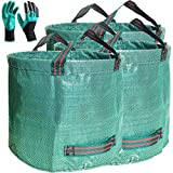 Professional 3-Pack 80 Gallons Lawn Yard Bag Garden Leaf trash Bags with Coated Gardening Gloves - XXXX Large Reuseable Heavy Duty Gardening Bags Grass Pool Bags Home Garden Waste Bags,with 4 Handles