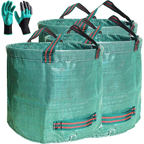 - Professional 3-Pack 72 Gallons Lawn Yard Garden Bag with Coated Gardening Gloves - XXX Large Size Reusable Leaf Bags - Stand Bags Gardening Containers - Lawn pool Waste Bags - with 4 Handles