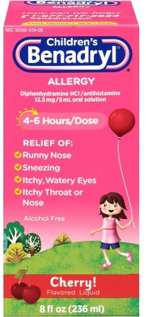 Children's Benadryl Allergy Liquid Cherry 8 oz (12 Pack) by Pharmapacks