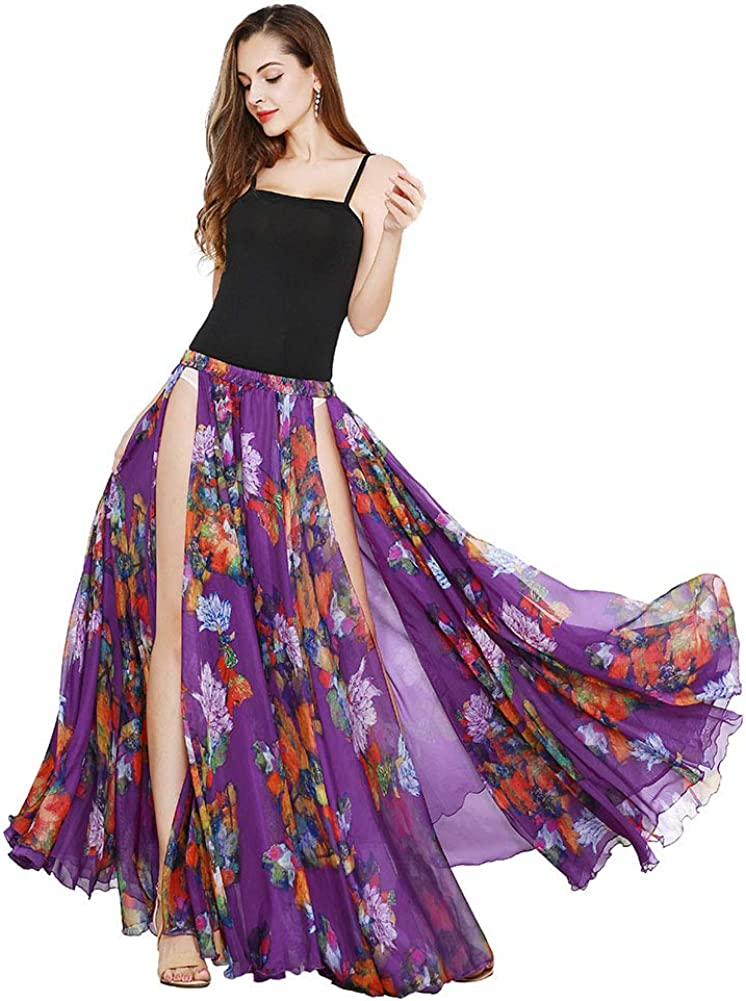 ROYAL SMEELA Belly Dance Costumes for Women Short Sleeve Tops Loose Belly Dancing Skirt Slit Maxi Skirts Carnival Outfit