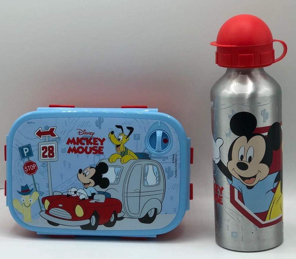 Gym Set Botella de Agua de Aluminio Infantil de 520ml con Fiambrera sandwicheras para niñas y niños, cantimplora térmica a Prueba de Fugas sin BPA aazul